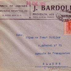 Sellos: ESPAÑA. 1926. SOBRE PUBLICITARIO DE BARCELONA A BLANES. 25 CTS. BONITO.. Lote 36347899