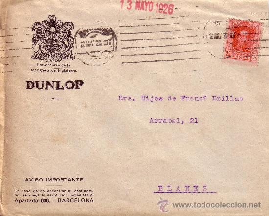 ESPAÑA. 1926. SOBRE PUBLICITARIO DE BARCELONA A BLANES. 25 CTS. MAT. RODILLO. LLEGADA. BONITO. (Sellos - España - Alfonso XIII de 1.886 a 1.931 - Cartas)