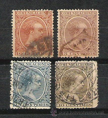 LOTE SELLOS ALFONSO XIII 10 15 25 30 CENTIMOS SELLO CIRCULADOS (Sellos - España - Alfonso XIII de 1.886 a 1.931 - Usados)