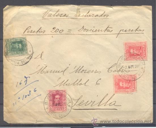 1928.- VILLA DEL RÍO (CÓRDOBA) A SEVILLA (Sellos - España - Alfonso XIII de 1.886 a 1.931 - Cartas)