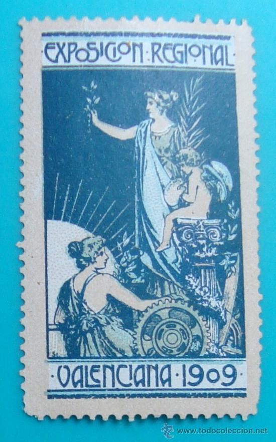 VIÑETA SELLO EXPOSICION REGIONAL VALENCIA 1909 - NUEVO CON FIJASELLOS (Sellos - España - Alfonso XIII de 1.886 a 1.931 - Nuevos)