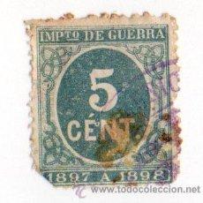 Sellos: ESPAÑA 1897- EDIFIL 232 - CIFRAS - VERDE. Lote 37288822