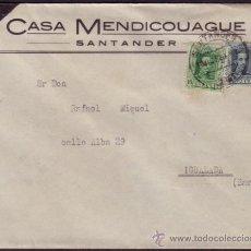 Sellos: ESPAÑA. (CAT. 314,315). 1929. SOBRE DE SANTANDER A IGUALADA. 10 Y 15 CTS. MAT. SANTANDER. LLEGADA.. Lote 37425620
