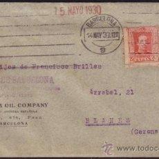 Sellos: ESPAÑA. (CAT. 317A, AYTO.4). 1930. SOBRE DE BARCELONA A BLANES. 25 CTS. Y 5 CTS. AYTO. LLEGADA.. Lote 37460287