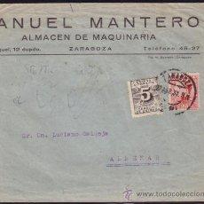 Sellos: ESPAÑA. (CAT. 495,592). 1931. SOBRE DE ZARAGOZA A ALMENAR. 25 Y 5 C. DCHO. DE ENTREGA. MAT. ZARAGOZA. Lote 37460670