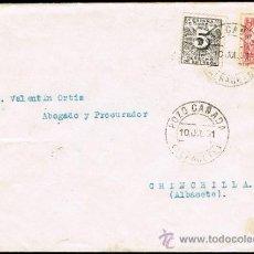 Sellos: ALBACETE - EDI O 492 + 592 - CARTA CIRC. - MAT. FECH.