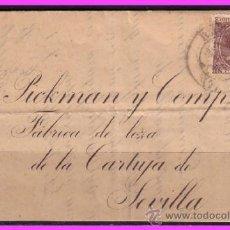 Sellos: CARTA COMPLETA BADAJOZ A SEVILLA 1892 ALFONSO XIII, EDIFIL Nº 219 (O). Lote 38028229