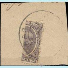 Sellos: 1889-99.-ALFONSO XIII - PELON. 1 PESETA. FRAGMENTO CON SELLO BISECTADO Y FECHADOR DE BARCELONA. RARO. Lote 38184509