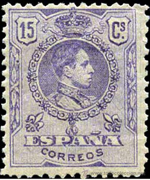 1909.- ALFONSO XIII MEDALLON. 15 CTS. LILA NUEVO. MUY BIEN CENTRADO EDIFIL Nº 270A** CATº. +43 € (Sellos - España - Alfonso XIII de 1.886 a 1.931 - Nuevos)