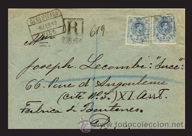 "1912.- PAR DE SELLOS 25 CTS. EN CARTA ""CERTIFICADA"" DE VIGO A PARIS. REV. FECH. DE LLEGADA Nº 274 (Sellos - España - Alfonso XIII de 1.886 a 1.931 - Cartas)"