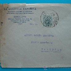 Sellos: SOBRE DE LA AGRICOLA ESPAÑOLA SOCIEDAD ANONIMA DE SEGUROS REUNIDOS, BARCELONA VALENCIA JUNIO 1920 ?. Lote 38187561