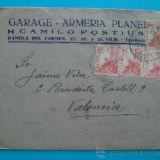 Sellos: SOBRE, GARAGE ARMERIA PLANE CAMILO POSTIUS, 3 JUNIO 1941, BARCELONA - VALENCIA. Lote 38187638