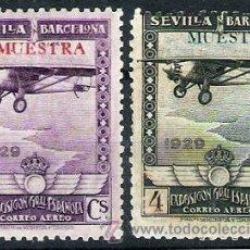 Sellos: 1929.- C.AEREO SEVILLA-BARCELONA, 50 CTS. Y 4 PTS. CON SOBRECARGAS