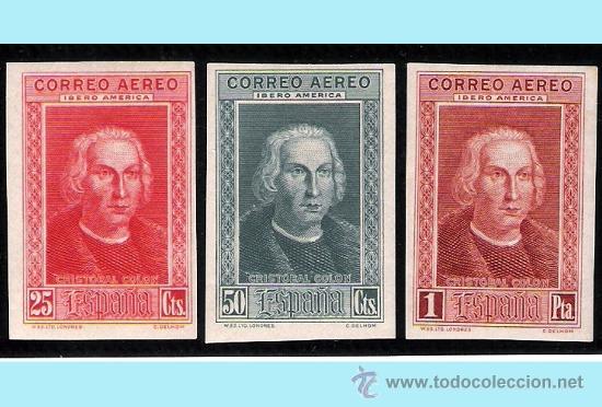 1930.- VALORES 25 Y 50 CTS. Y 1 PTS. SIN DENTAR. COLON AEREO IBEROAMERICA. Nº 561S/63S* (Sellos - España - Alfonso XIII de 1.886 a 1.931 - Nuevos)
