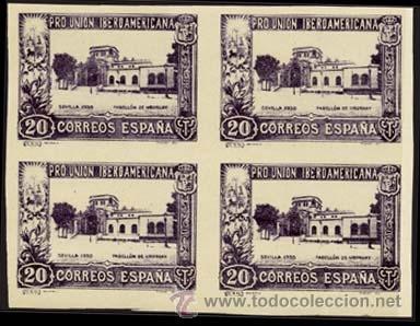 """1930.- BLOQUE DE 4 DEL 20 CTS. SIN DENTAR Y CAMBIO DE COLOR """"VIOLETA"""". Nº 571CCCS ** LUJO. (Sellos - España - Alfonso XIII de 1.886 a 1.931 - Nuevos)"""