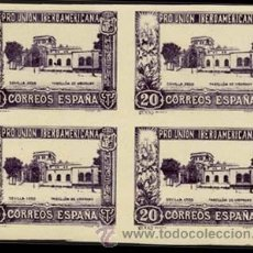 Sellos: 1930.- BLOQUE DE 4 DEL 20 CTS. SIN DENTAR Y CAMBIO DE COLOR