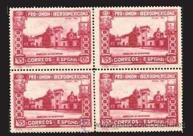 """1930.- BLOQUE DE 4 DEL 25 CTS. DENTADO Y CAMBIO DE COLOR """"ROSA CARMINADO"""". Nº 572CCA ** LUJO. (Sellos - España - Alfonso XIII de 1.886 a 1.931 - Nuevos)"""