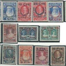 Sellos: ESPAÑA 1927 CRUZ ROJA CORONACIÓN SOBRECARGA ED 373-87,MI336-50,SG430-44,SC430 NUEVOS. Lote 37542217