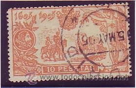 266- QUIJOTE 1905. 10 P. NARANJA. USADO PRECIOSO. CAT.- 245 €. (Sellos - España - Alfonso XIII de 1.886 a 1.931 - Usados)