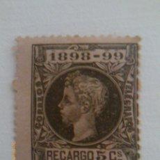 Sellos: ALFONSO XIII - RECARGO 5 CENTIMOS - 1898-99 - NUEVO. Lote 39373917