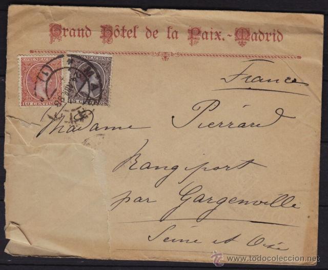 CARTA CIRCULADA 1898 DE MADRID A FRANCIA. FRANQUEO ALFONSO XIII PELON EDIFIL 218, 219, LLEGADA (Sellos - España - Alfonso XIII de 1.886 a 1.931 - Cartas)