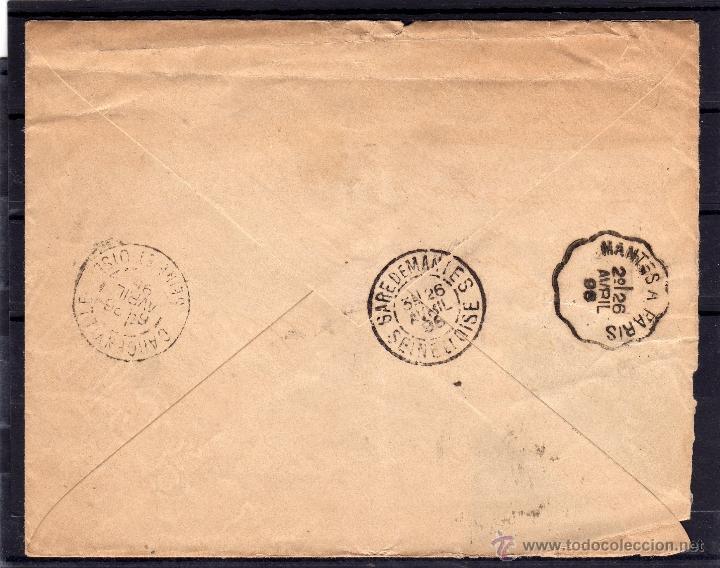Sellos: CARTA CIRCULADA 1898 DE MADRID A FRANCIA. FRANQUEO ALFONSO XIII PELON EDIFIL 218, 219, LLEGADA - Foto 2 - 39559597
