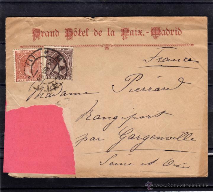 Sellos: CARTA CIRCULADA 1898 DE MADRID A FRANCIA. FRANQUEO ALFONSO XIII PELON EDIFIL 218, 219, LLEGADA - Foto 3 - 39559597