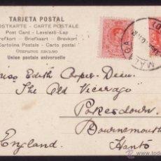 Sellos: ESPAÑA.(CAT.269+SELLO INGLÉS 107).1910.T.P.DE MÁLAGA A G.BRETAÑA.FRANQUEO MIXTO.MAT. MÁLAGA.MUY RARA. Lote 25620107