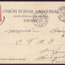 Sellos: ESPAÑA. 1903. T.P. DE LAS PALMAS (CANARIAS) A SENEGAL. FDOR. PAQUEBOT MARSEILLE A LOANGO. RARÍSIMO.. Lote 23643187