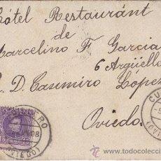 Sellos: SOBRE CIRCULADO DE CUDILLERO A OVIEDO (ASTURIAS), 25 CTS. CADETE, 1908, MUY BUENA ESTAMPACIÓN. Lote 40193065