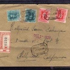 Sellos: SELLOS ALFONSO XIII TIPO VAQUER, CARTA CERTIFICADA 1928 DE MADRID A HOLLYWOOD CALIFORNIA, LLEGADA. Lote 40257304