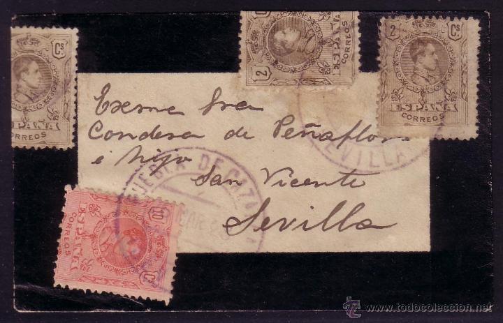 ESPAÑA.(CAT.267(3),269).1923.SOBRE PEQUEÑO DE LUTO DE PUEBLA DE CAZALLA (SEVILLA).MUY RARO FRANQUEO. (Sellos - España - Alfonso XIII de 1.886 a 1.931 - Cartas)