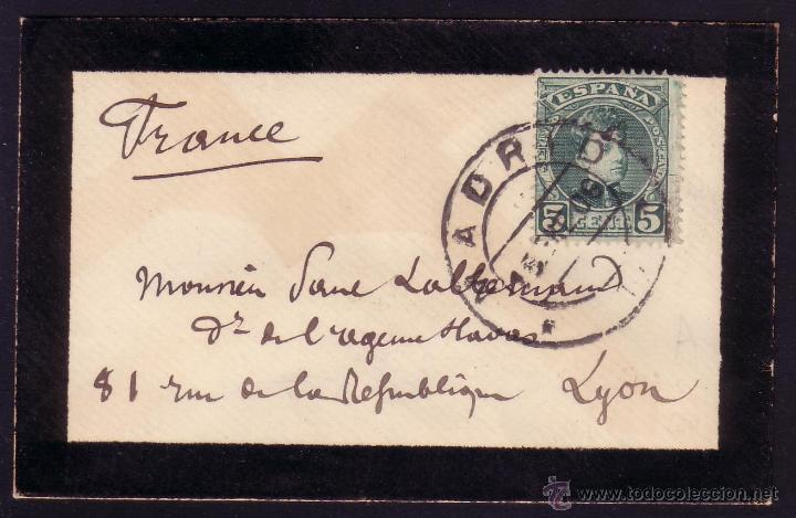 ESPAÑA.(CAT. 242). 1906. MADRID. PEQUEÑO SOBRE LUTO. FRANQUEO IMPRESOS 5 C. CADETE. MAGNÍFICA. RARA. (Sellos - España - Alfonso XIII de 1.886 a 1.931 - Cartas)