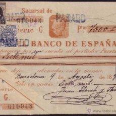 Sellos: ESPAÑA. (CAT. 236/FISCAL 18).1898. BARCELONA. PAGARÉ REINTEGRADO SELLO FISCAL Y DE I. GUERRA. RARO. Lote 37315534