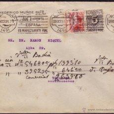 Sellos: ESPAÑA. (CAT.592,598). 1931. SOBRE DE ZARAGOZA A IGUALADA. 25 C. DENTADO MUY DESPLAZADO Y 5 C. DCHO.. Lote 37461102
