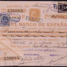 Sellos: ESPAÑA. (CAT. 236/FISCAL 18). 1898. BARCELONA. PAGARÉ. REINTEGRADO CON SELLOS. MAGNÍFICO Y RARO.. Lote 37314660