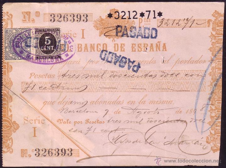 ESPAÑA. (CAT. 236, FISCAL 18).1898. PAGARÉ REINTEGRADO SELLO FISCAL Y DE I. DE GUERRA. MAGNÍFICO. (Sellos - España - Alfonso XIII de 1.886 a 1.931 - Cartas)