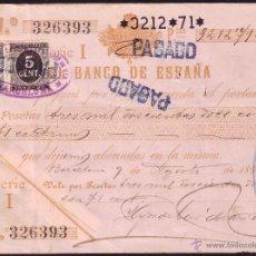 Sellos: ESPAÑA. (CAT. 236, FISCAL 18).1898. PAGARÉ REINTEGRADO SELLO FISCAL Y DE I. DE GUERRA. MAGNÍFICO.. Lote 37314880