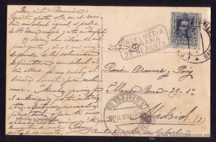 ESPAÑA.(CAT.315).1926.T.P.SAN SEBASTIÁN/MADRID.FECH.ESTACIÓN.MARCA *ONCE Y MEDIA/MAÑANA/2º REPARTO* (Sellos - España - Alfonso XIII de 1.886 a 1.931 - Cartas)