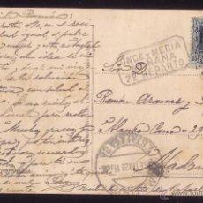 Sellos: ESPAÑA.(CAT.315).1926.T.P.SAN SEBASTIÁN/MADRID.FECH.ESTACIÓN.MARCA *ONCE Y MEDIA/MAÑANA/2º REPARTO*. Lote 27118126