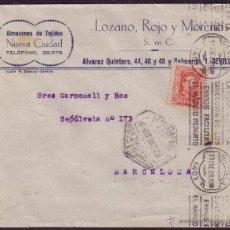 Sellos: ESPAÑA.(CAT.317A).1929 (11 ENE). SOBRE CORREO AÉREO DE SEVILLA A BARCELONA. 25 CTS. LLEGADA.RARÍSIMA. Lote 25236598