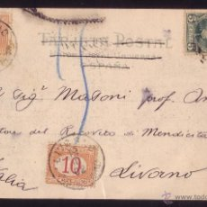 Sellos: ESPAÑA.(CAT.242/ITALIA Nº 5,6).1902.T.P.BARCELONA A ITALIA.RARÍSIMO FRANQUEO MIXTO ESPAÑOL-ITALIANO.. Lote 26060103