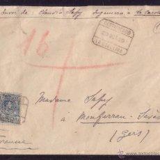 Sellos: ESPAÑA.(CAT. 277).1920.SOBRE CERTIFICADO DE LA CAROLINA (JAÉN) A FRANCIA. 50 C.MEDALLÓN. MAT. CERT.. Lote 26837366