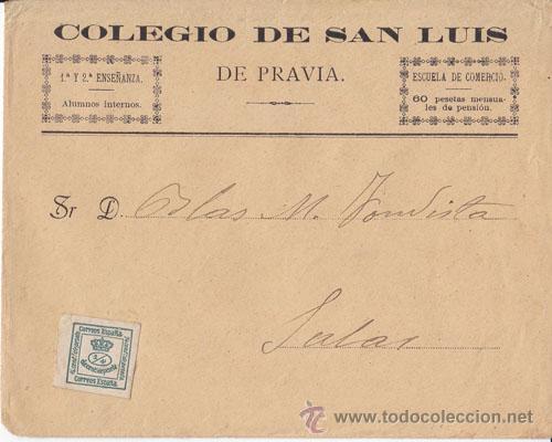 SOBRE COLEGIO DE SAN LUIS DE PRAVIA (ASTURIAS) CUARTILLO CIRCULADO A SALAS (Sellos - España - Alfonso XIII de 1.886 a 1.931 - Cartas)
