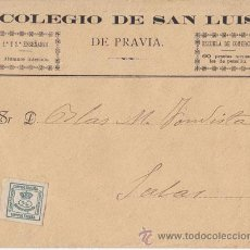 Sellos: SOBRE COLEGIO DE SAN LUIS DE PRAVIA (ASTURIAS) CUARTILLO CIRCULADO A SALAS. Lote 40491821