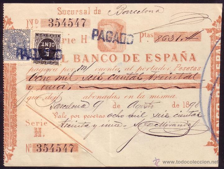 ESPAÑA. (CAT. 236/FISCAL 18).1898. BARCELONA. PAGARÉ REINTEGRADO SELLO FISCAL Y DE I. GUERRA. RARO (Sellos - España - Alfonso XIII de 1.886 a 1.931 - Cartas)