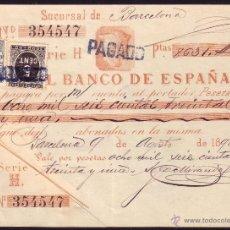 Sellos: ESPAÑA. (CAT. 236/FISCAL 18).1898. BARCELONA. PAGARÉ REINTEGRADO SELLO FISCAL Y DE I. GUERRA. RARO. Lote 37315126