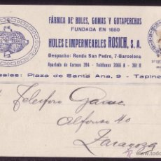 Sellos: ESPAÑA. (CAT. 271). 1923. T. P. PUBLICIDAD * FÁBRICA DE HULES... * DE BARCELONA. BONITA.. Lote 25303267