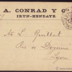 Sellos: ESPAÑA. (CAT. 217). 1891. T.P. PARTICULAR * A.CONRAD Y Cª DE IRUN-HENDAYA *.10 CTS. PELÓN. RARÍSIMA.. Lote 25548292