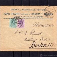 Sellos: CARTA COMERCIAL JUAN IRIARTE ALMACEN DE CURTIDOS VITORIA A BERLIN. SELLOS ALFONSO XIII TIPO MEDALLON. Lote 40568257